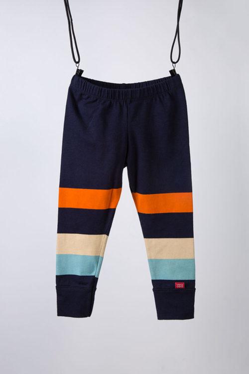 leggings azul a rayas de color