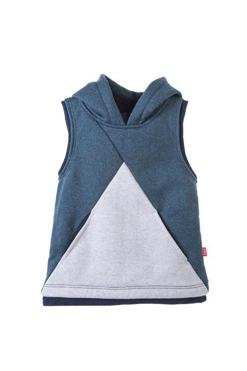 chaleco azul con capucha y bolsillos