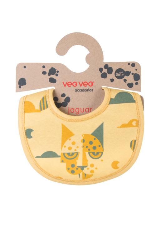 babero amarillo con estampa de jaguar