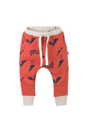 pants color anaranjado con estampado azul