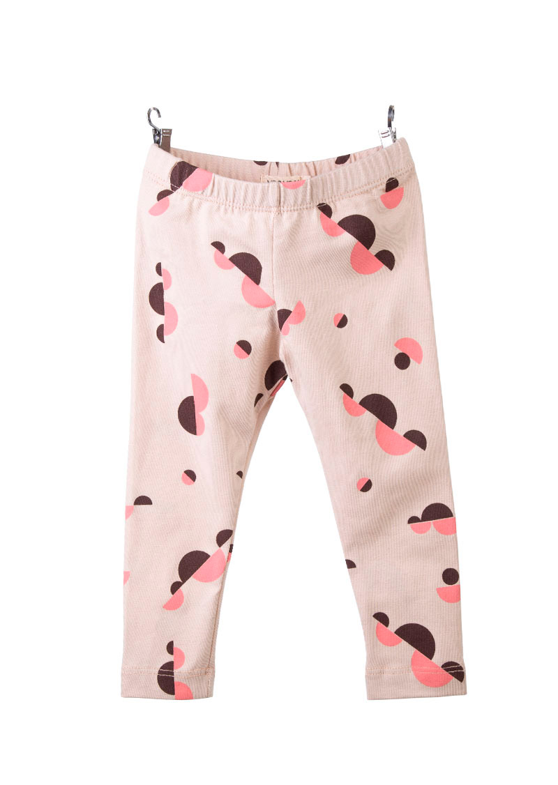 leggings color rosa estampado con nubes geométricas