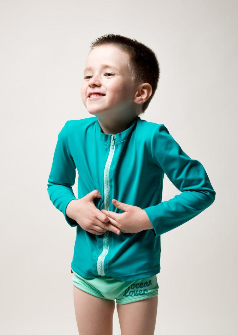 traje de baño manga larga con cremallera verde aqua