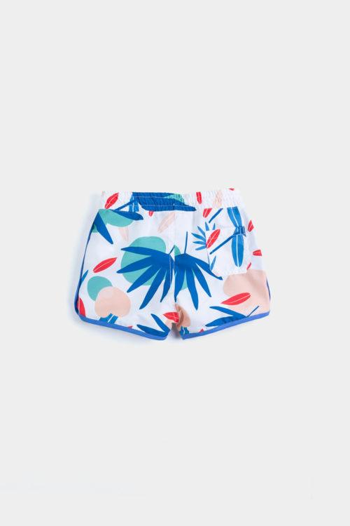 traje de baño short imagen de producto dorso con estampado de selva tropical