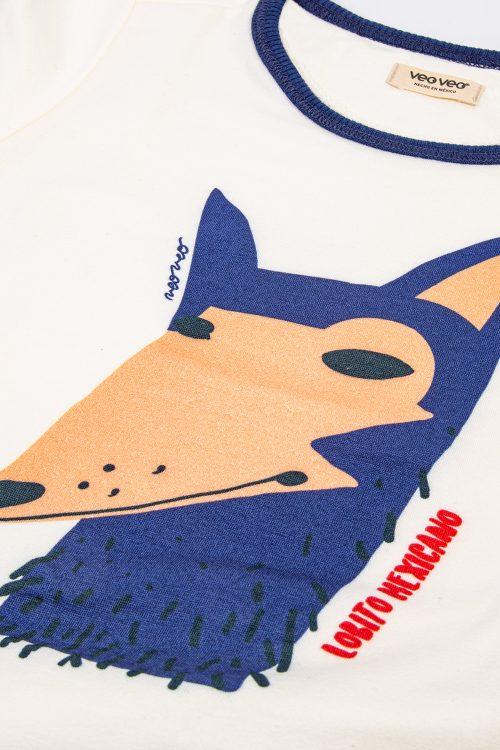 playera zorrito azul veoveo.store producto foto frontal detalle