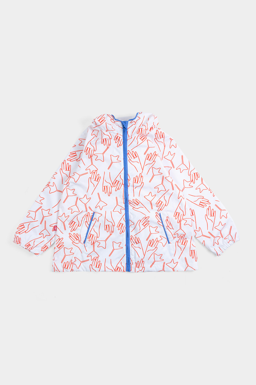 "girls with Eco waterproof jacket with hood ""Together "" front view"