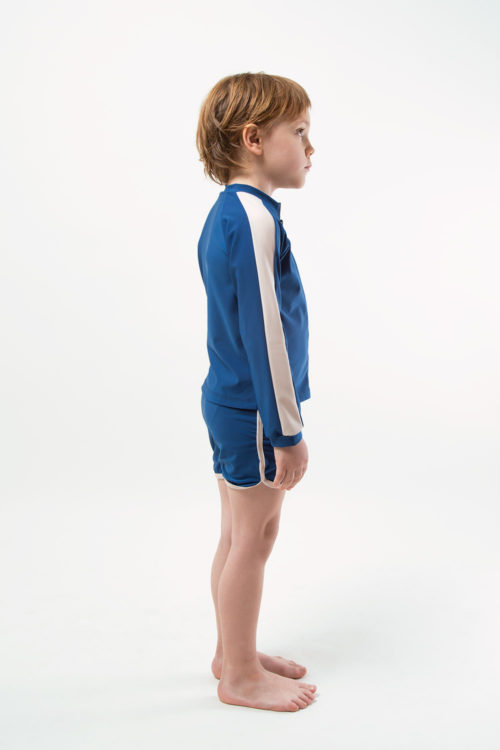 eco friendly rash guard and short blue. Front zipper, boy view