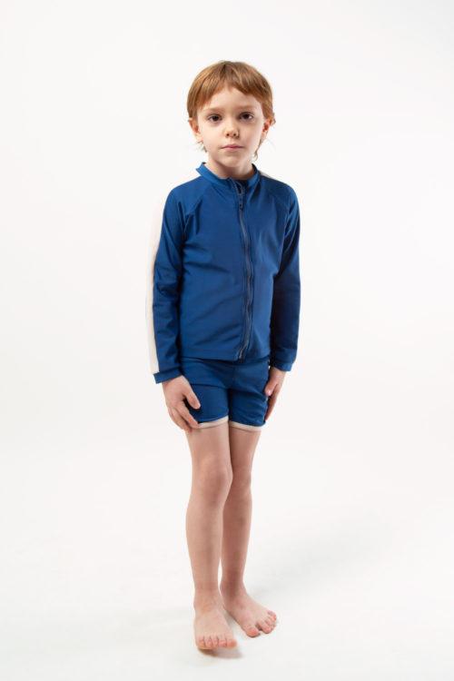 eco friendly rash guard blue. Front zipper, boy view