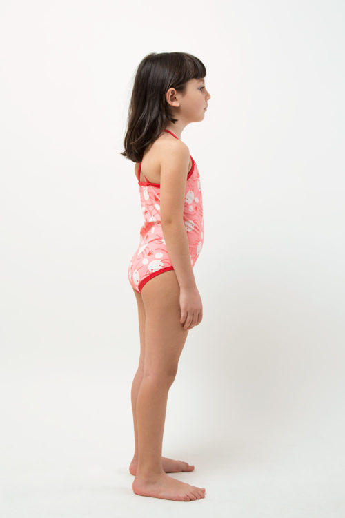 eco friendly one piece swimwear - Axolotl printed - girl right side view