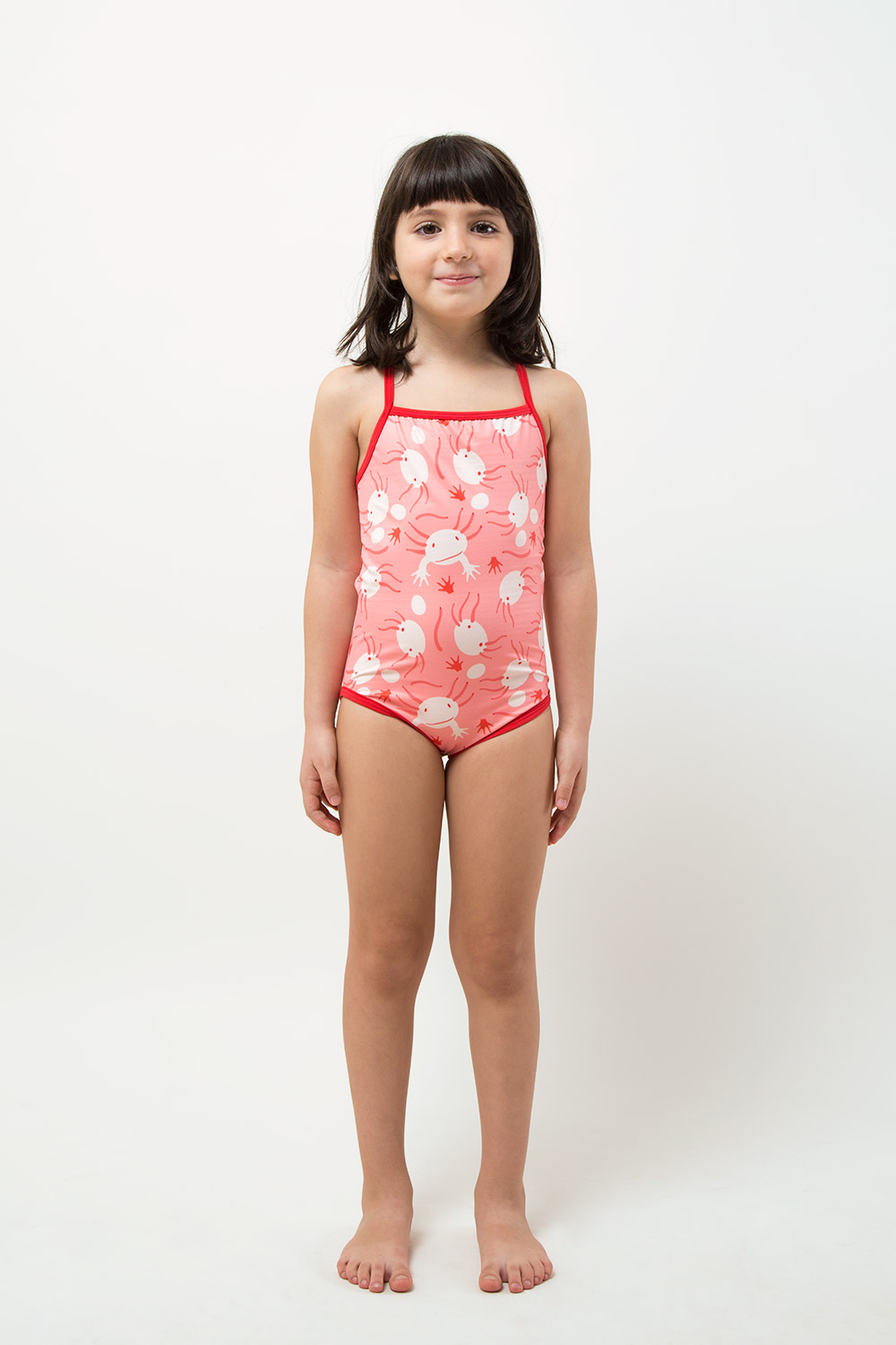 eco friendly one piece swimwear - Axolotl printed - girl front side view