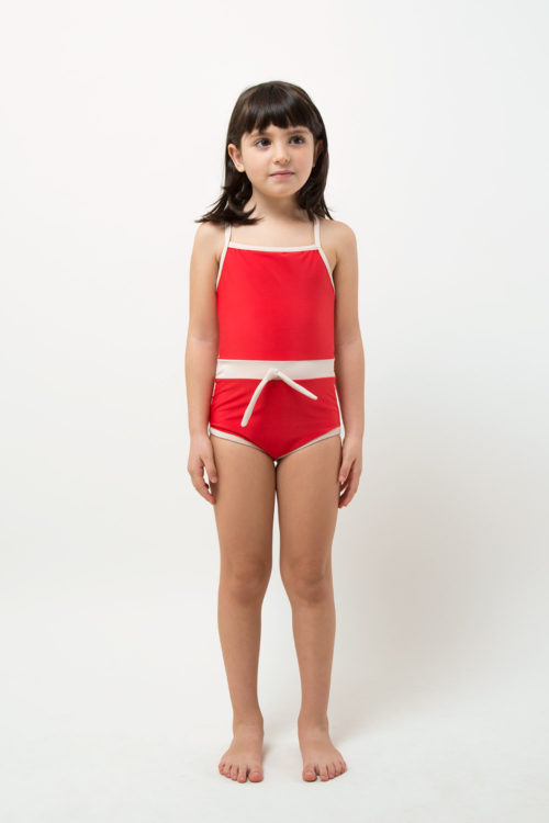 swimwear retrored one piece - product red - girl - front