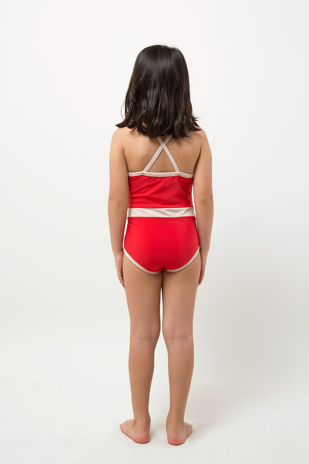 swimwear retrored one piece - product red - girl - back
