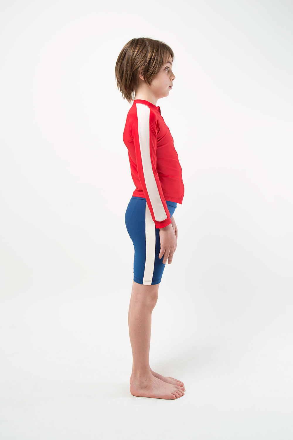 eco friendly blue jammer footprint collection side view boy