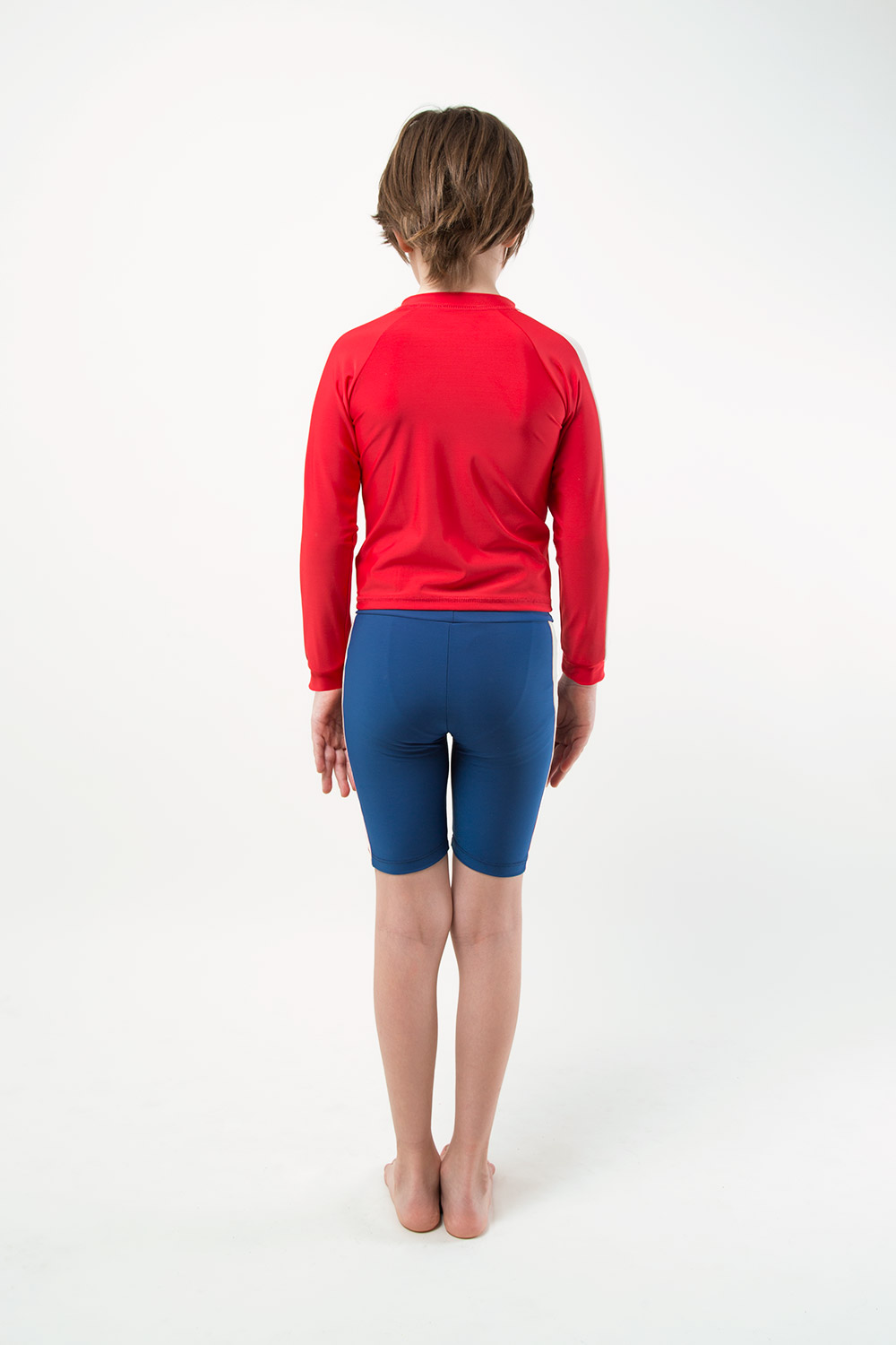 eco friendly blue jammer footprint collection back view boy