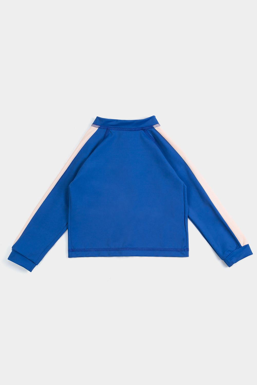 eco friendly rash guard blue. Front zipper, back product shot