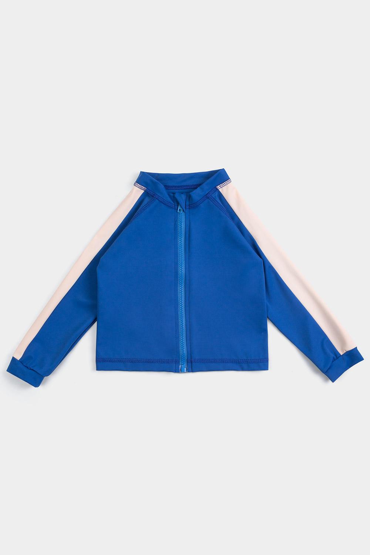 eco friendly rash guard blue. Front zipper, front product shot