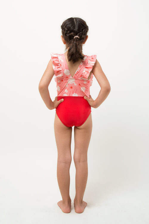 one piece ecofriendly with frills - girl - back