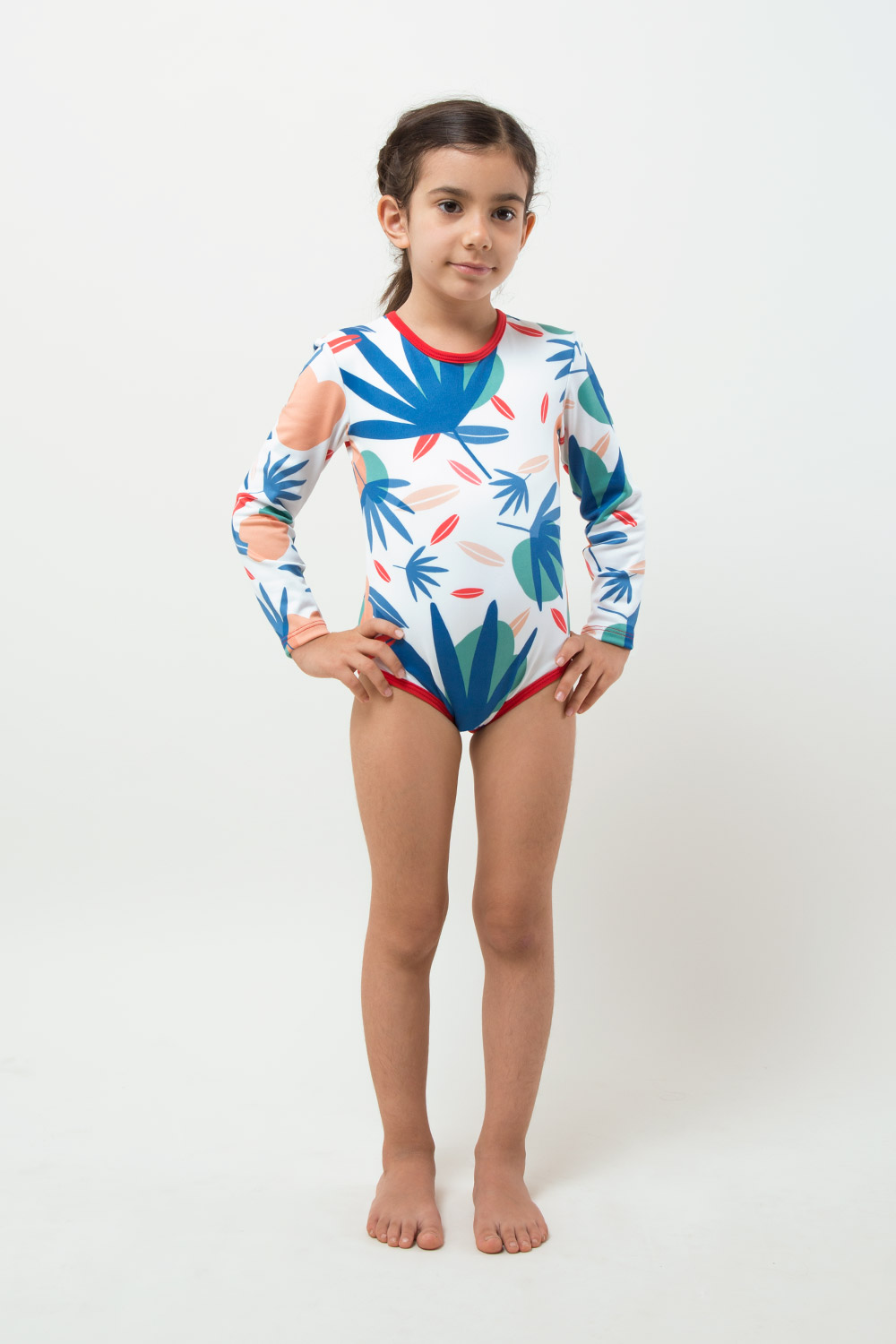 eco friendly swimsuit UPF 50+ girl modeling - front