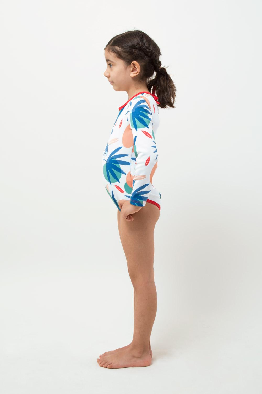 eco friendly swimsuit UPF 50+ girl modeling - side